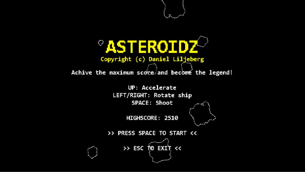 Asteroidz Title Screen
